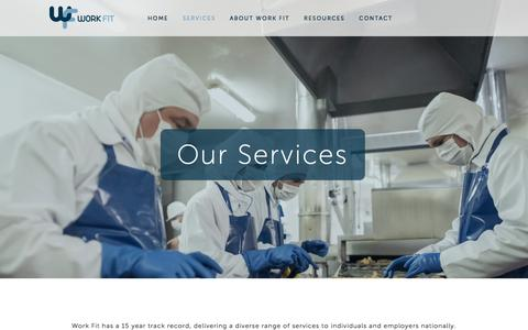 Screenshot of Services Page work-fit.co.uk - Services — WorkFit - captured Feb. 17, 2016