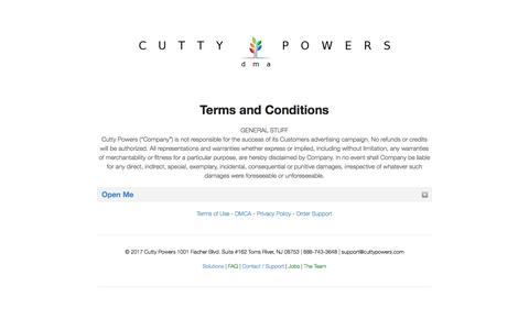 Terms and Conditions - Cutty Powers