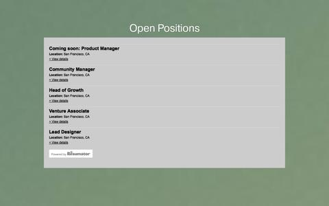 Screenshot of Jobs Page fundersclub.com - FundersClub Careers - captured Sept. 16, 2014