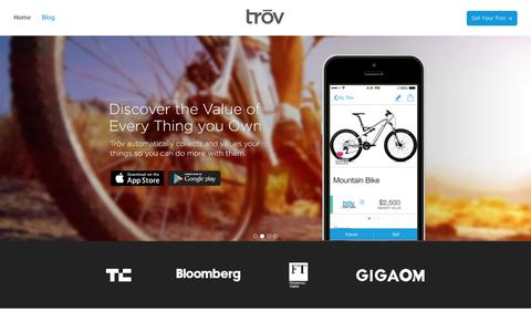 Screenshot of Home Page trov.com - Trōv | The Cloud For Your Things - captured Sept. 17, 2014