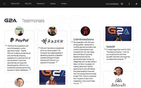 Screenshot of Testimonials Page g2a.co - Why G2A.COM? - All about Partners, certificates, testimonials and awards - captured Sept. 30, 2016