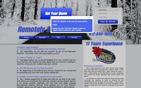Screenshot of FAQ Page remotelystartedmn.com - Remotely Started MN - Remote Car Starter Installation in Apple Valley - captured Oct. 7, 2014