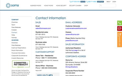 Screenshot of Contact Page ooma.com - Contact Ooma - Call 877-353-5168 | Ooma - captured July 12, 2018