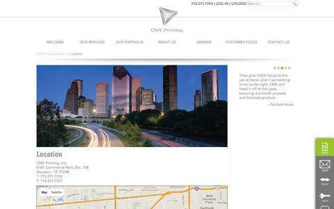 Screenshot of Maps & Directions Page cmeprinting.com - Location | Houston Printing Company | CME - captured Jan. 23, 2016