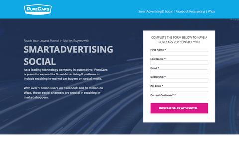 Screenshot of Landing Page purecars.com - SmartAdvertising Social from PureCars - captured Aug. 18, 2016