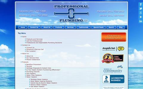 Screenshot of Site Map Page proplumbingdesign.com - Site Map Sarasota Plumber - captured Oct. 3, 2014