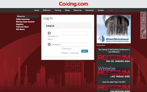 Screenshot of Login Page coking.com - Log In - captured Oct. 3, 2014