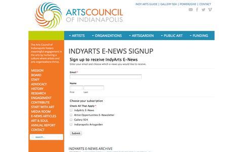 Screenshot of Signup Page indyarts.org - IndyArts E-news Sign-up - IndyArts.org - captured Nov. 2, 2014