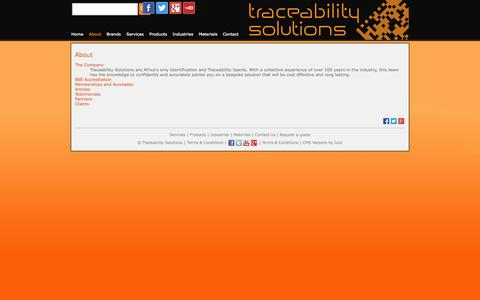 Screenshot of About Page tracesol.co.za - About — Traceability Solutions - captured Oct. 6, 2014