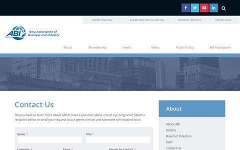 Screenshot of Contact Page iowaabi.org - Contact Us   Iowa Association of Business and Industry - captured Feb. 11, 2016