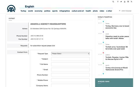 Screenshot of Contact Page aa.com.tr - contact    - Anadolu Agency - captured Sept. 21, 2018