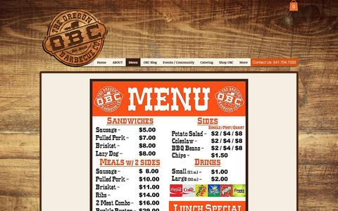Screenshot of Menu Page bbqoregon.com - Oregon BBQ Menu - captured Nov. 30, 2016