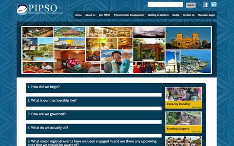 Screenshot of FAQ Page pipso.org - FAQ's | Pacific Islands Private Sector Organisation - captured Oct. 1, 2014