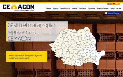 Screenshot of Contact Page cemacon.ro - CEMACON : Producător sisteme de zidărie EvoCeramicContact reprezentanți Cemacon | Cemacon.ro - captured Sept. 26, 2014