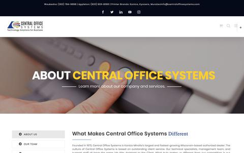 Screenshot of About Page centralofficesystems.com - ABOUT - Central Office Systems - captured Sept. 5, 2019