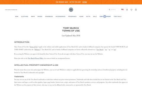 Screenshot of Terms Page toryburch.com - Tory Burch | Terms of Use - captured Aug. 24, 2019