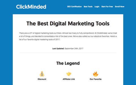 Screenshot of clickminded.com - The Best Digital Marketing Tools - ClickMinded - captured Sept. 25, 2017