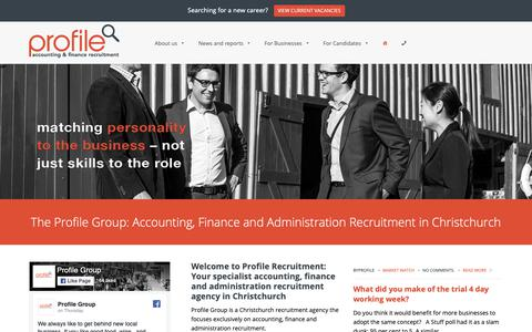 Screenshot of Home Page profilegroup.co.nz - Accounting, Administration & Finance Recruitment Agency ChristchurchProfile Group | Accounting and finance recruitment across Canterbury - captured Sept. 30, 2018