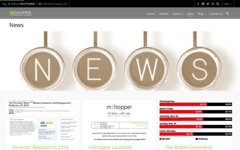 Screenshot of Press Page mshopper.com - Mobile commerce & mobile marketing news - captured Feb. 16, 2016