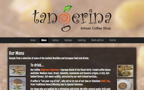 Screenshot of Menu Page tangerina.co.uk - Our Menu | Tangerina Coffee Shop, London, N16 - captured Oct. 7, 2014