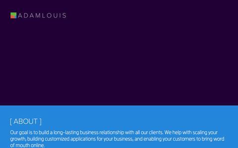 Screenshot of Home Page adamlouis.com - AdamLouis | Small Business, big data. - captured Sept. 30, 2014