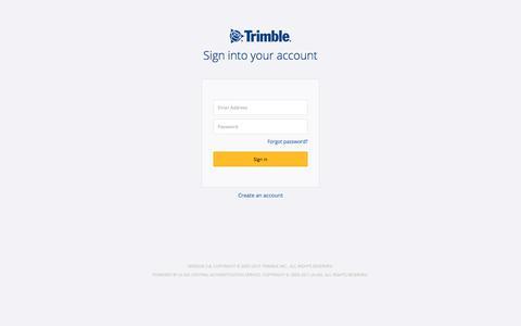 Screenshot of Login Page trimble.com - Trimble Inc. Central Authentication Service - captured Nov. 28, 2019