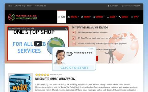 Screenshot of Home Page mambo.co.ke - Web Hosting | Emails | SSLs | Cloud Hosting | VPS - Mambo.co.ke - captured Feb. 4, 2016