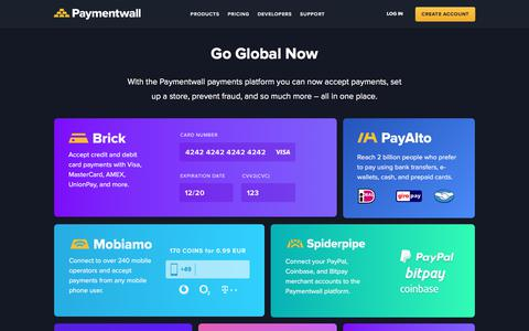 Screenshot of Home Page paymentwall.com - Accept Payments Globally - Paymentwall - captured Jan. 12, 2018