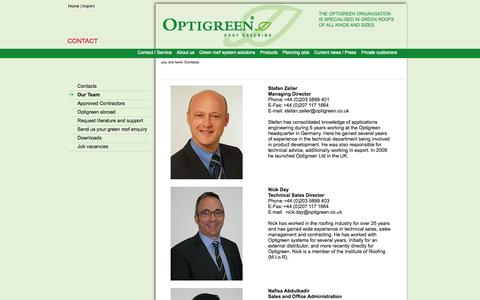 Screenshot of Team Page optigreen.co.uk - Green roofs - Optigreen system solutions for green roofing - green roof - captured Oct. 27, 2014
