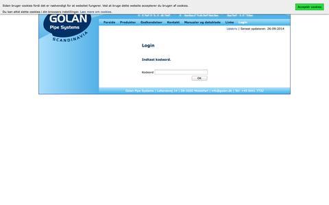 Screenshot of Login Page golan.dk - Golan Pipe Systems - Kontaktblade - captured Oct. 3, 2014