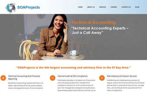 Screenshot of Home Page soaprojects.com - SOAProjects | Technical Accounting, Financial Reporting, IT Compliance & Advisory, Internal Audit & SOX Compliance - captured Oct. 3, 2014