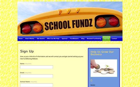 Screenshot of Signup Page schoolfundz.com - Sign Up | School Fundz Main Site - captured Sept. 29, 2014