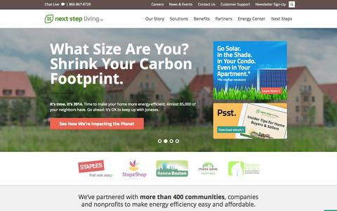 Screenshot of Home Page nextstepliving.com - Next Step Living™ | Save Energy at Home - Home Energy Audits MA & CT - captured Sept. 12, 2014