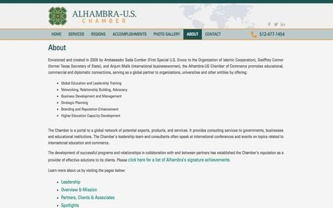 Screenshot of About Page alhambrauschamber.org - About | Alhambra-U.S. Chamber - captured Oct. 4, 2014