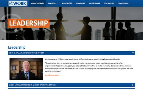 Screenshot of Team Page atwork.com - Leadership - captured Feb. 15, 2016