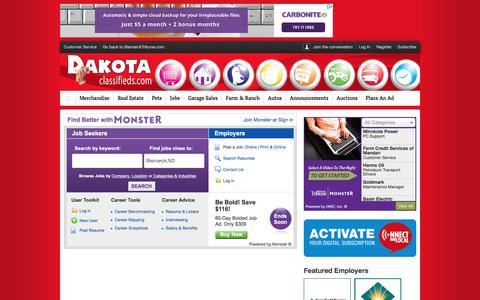 Screenshot of Jobs Page bismarcktribune.com - Jobs : Dakota Classifieds - captured Jan. 4, 2016