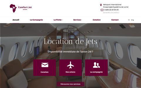 Screenshot of Home Page comfortjetservices.com - Comfort Jet Services - Location de Jets - captured May 20, 2017