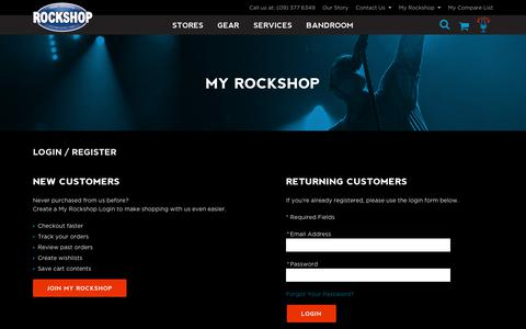 Screenshot of Login Page rockshop.co.nz - Customer Login | NZ Rockshop - captured Oct. 22, 2017