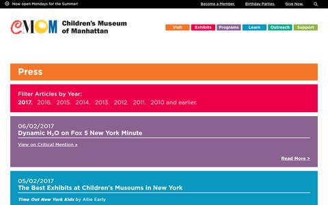Screenshot of Press Page cmom.org - Press – Children's Museum of Manhattan - captured June 27, 2017
