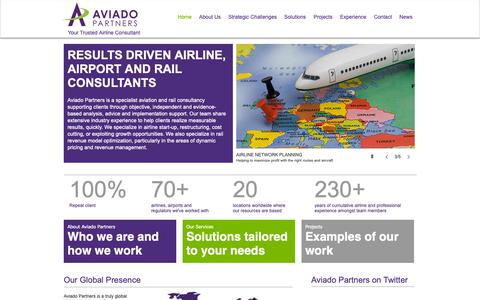 Screenshot of Home Page aviadopartners.com - Aviado Partners | Airline Consultants - captured Oct. 2, 2018