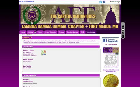 Screenshot of Contact Page clubexpress.com - Contact - Lambda Gamma Gamma Chapter, Omega Psi Phi Fraternity - captured Oct. 30, 2018