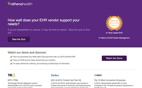 Screenshot of Landing Page athenahealth.com - Electronic Health Records Quiz | athenahealth | OLA - captured Oct. 6, 2016