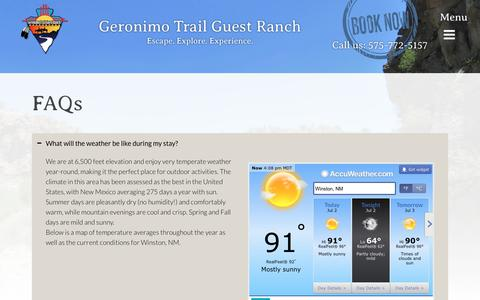Screenshot of FAQ Page geronimoranch.com - FAQ's   Geronimo Trail Guest Ranch   Common Questions - captured July 2, 2018