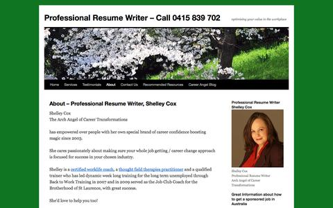 Screenshot of About Page careerangel.com.au - Professional Resume Writer | Interview Coaching | KSC | Professional Resume Writer - Call 0415 839 702 - captured Oct. 1, 2014