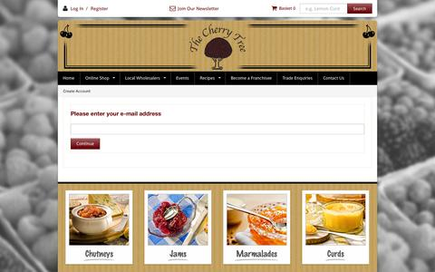Screenshot of Login Page cherrytreepreserves.co.uk - The Cherry Tree - Finest quality preserves, chutneys and sauce - Create Account - captured Oct. 2, 2014