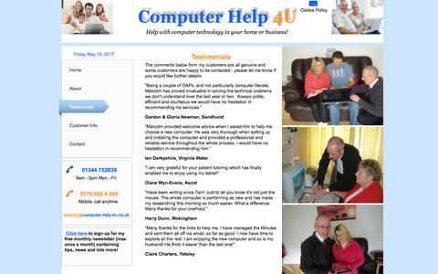 Screenshot of Testimonials Page computer-help-4u.co.uk - Computer Help 4U - Testimonials - captured May 20, 2017