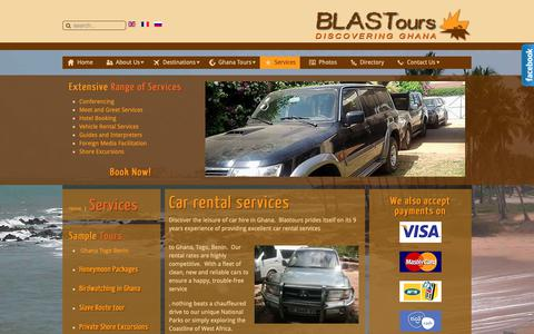 Screenshot of Services Page blastours.com - Ghana Tour Operator tourism & travel services - captured Nov. 6, 2018