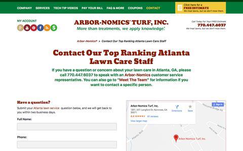 Screenshot of Contact Page arbor-nomics.com - Contact Our Top Ranking Atlanta Lawn Care Staff | Arbor-Nomics® - captured June 28, 2018