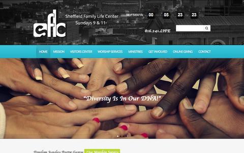 Screenshot of Home Page sflc.net - Sheffield Family Life Center | Sheffield Family Life Center - captured Aug. 1, 2015