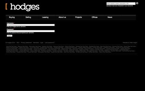 Screenshot of Login Page hodges.com.au - Hodges real estate offices in Brighton, Beaumaris, Caulfield, Chelsea, Cranbourne, South Yarra, Sandringham, St Kilda, Mentone, Bentleigh, Geelong and Mt Eliza - captured Oct. 2, 2014